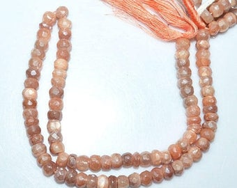 """50% OFF 1 Strand Natural Peach Moonstone AB Silver Coated Faceted Rondelle - Moonstone AB Silver Coated Beads, 6 mm, 13""""- Mc174Z6"""