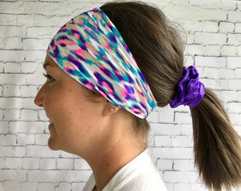 Sport cheveuz leopard pink and blue headband