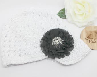 Crochet Newsboy Style Hat, White, Flower, Baby Hat, Toddler Hat, Toddler Beanie, Winter Hat,