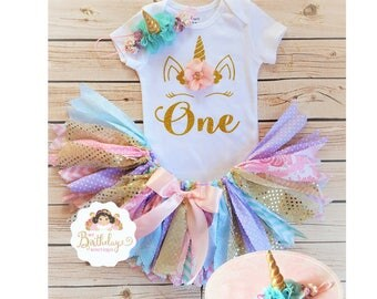Unicorn First Birthday tutu outfit,First Birthday Outfit Girl,Rag tutu, first Birthday,Girls 1st Birthday Outfit Unicorn,ONE tutu set