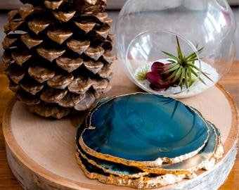 Set of 4 Teal Agate Coasters with Gold Edging