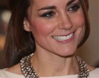 Zara inspired Kate Middleton Clear Rhinstone Statement Necklace White Gold Base