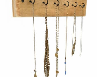 Reclaimed Wood Necklace Display - necklace holder wall jewelry display jewelry holder hanging jewelry organizer necklace wall hanger hooks
