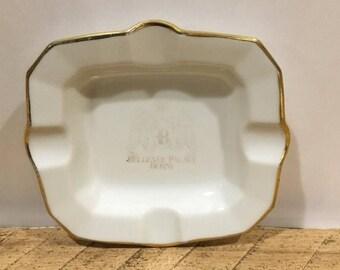 On Sale Vintage Bellevue Palace Berne Ashtray , Vintage White and Gold Color Trim Ashtray , Trinket Dish