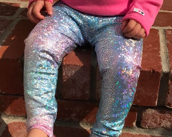 Unicorn leggings - shimmer leggings - holographic leggings - toddler leggings - cotton candy