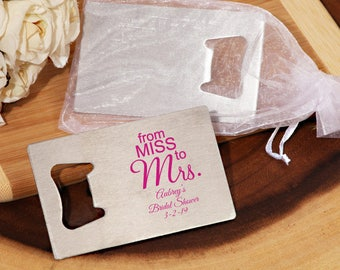 24 PCS - From Miss to Mrs. Personalized Bottle Opener Wedding Favors, perosnalized Silver Bottle opener favors, CM7007P-505
