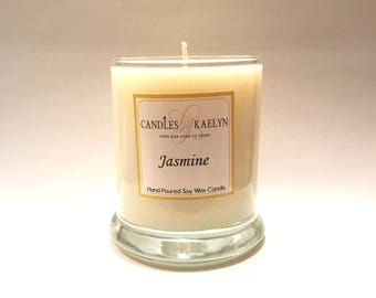 Jasmine Soy Wax Candle - Soy Candles Handmade - Clean Burning - Gifts For Her - 10oz Glass Jar