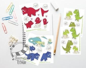 Small reusable stickers dinosaurs, T - rex, Tyrannosaurus, brontosaurus, triceratops miniature wall art, gifts, birthday, anniversary
