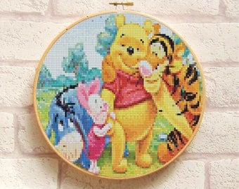 WINNIE The POOH Friends Cross Stitch Pattern PDF, Embroidery Cute Nursery Decor, Disney Animals Counted Cross Stitch Chart, Instant Download