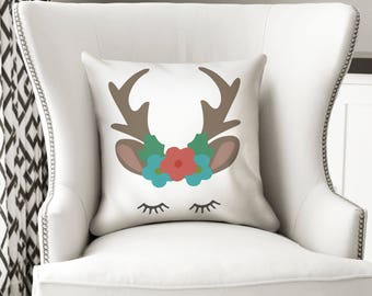 Deer svg, Christmas svg, Antlers svg, buck svg, Deer, files for svgs , deer with flowers,  buck svgs , SVG, DXF, Christmas dxf