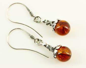Vintage Baltic Amber Sterling Silver Earrings - Delicate Pierced Dangle Drop - Dainty Romantic Natural Amber, Fine Estate Jewelry Silver 925