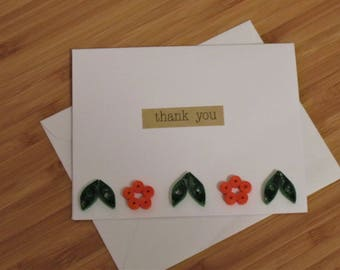 Thankyou Floral Blank Greeting Card,Thanks Floral Theme Card,ThankYou Quilled Card,Spring Floral Theme Greeting Card