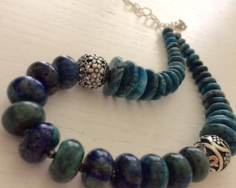 Blue rondelle necklace