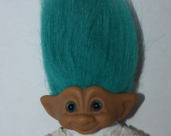 Vintage ACE Novelty Treasure Troll Doll Blue Hair Star Gem Jewel Belly Button Pajamas