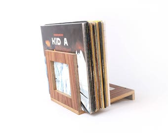 vinyl record storage wood vinyl stand vinyl holder walnut vinyl rack vinyl