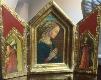 Vintage Florentine/Italian Triptych Religious Catholic Icon Virgin Mary Angels