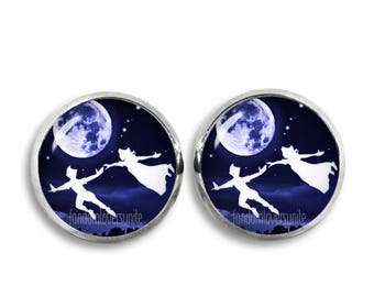 Peter Pan Stud Earrings Peter Pan Wendy Darling Earrings Flying over the Moon Peter Pan Jewelry Cosplay Fangirl Fanboy