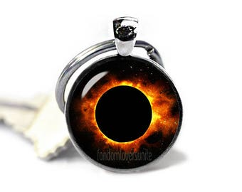 Solar Eclipse Key Ring Eclipse of the Sun Keychain Sun Eclipse Keyfob Eclipse 2017 Total Eclipse Sun Eclipse Jewelry