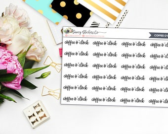 Coffee o'clock Planner Stickers | for use with Erin Condren Lifeplanner™, Happy Planner