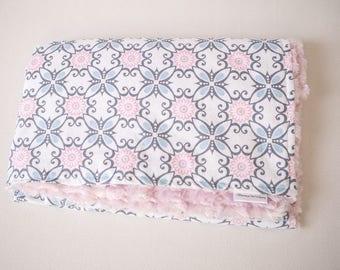 Pastel ~ Pattern ~ Faux Fur Minky ~ Baby Blanket ~ Toddler blanket