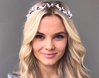 White flower crown wedding flower crown adult flower hair wreath bridal floral crown wedding headband flower girl crown bridal flower crown