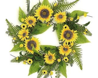 """ESE Sunflower and Blossom wreath, 22"""""""
