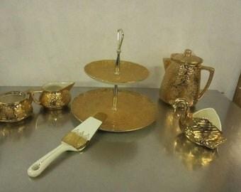 Vintage Hollywood Regency Gold Tea Set, , 22kt Gold China, Elegant Mid Century Tea Set, Pearl China Co Tea Service ***1940's-1950's*** RARE