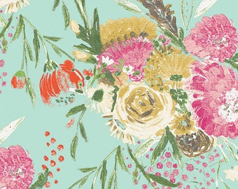 KNIT Fabric, Summer Bouquet Clear, Wild Bloom Collection, Art Gallery Knits, Cotton Spandex Knit, Floral Jersey Knit Fabric, K-12032
