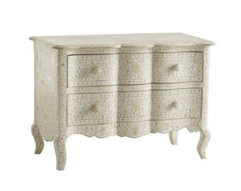 White Bone Inlay Chest Of Drawers