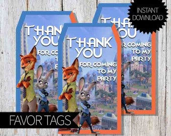 Zootopia Birthday Party PRINTABLE Favor Tags- Instant Download | Disney | Zootopia Movie