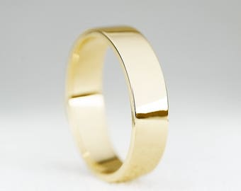 5mm Width Wedding Band Ring-9ct/14ct/18ct Yellow Gold Flat Profile Wedding Band-Gold Mens Wedding Band Ring-5mm Men's Ring-Handmade to Order