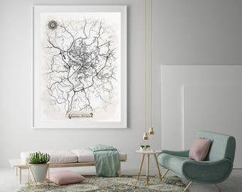 MORGANTOWN West Virginia Watercolor Map Art Black Ink And Light Watercolor  WV Vintage City Map Large
