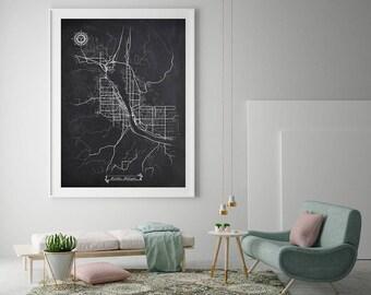 WENATCHEE Washington Chalkboard Map Art Black and White Wenatchee WA Vintage City Map Graphic Detailed Scheme Street Map Wall Art Decor
