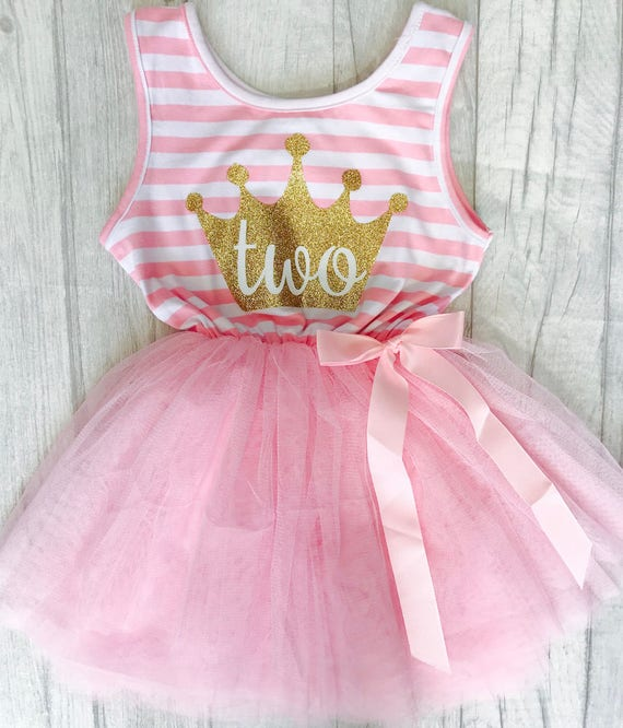 2nd Birthday Light Pink Stripe Tutu Dress With Detachable Bow