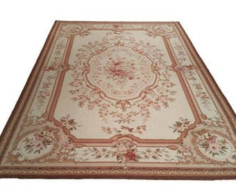 6x9 rug needlepoint hand made rug 6x9 beige rose color