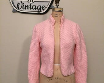 50's Pink Open Front Cardigan with High Collar Size Medium   Bubble Gum Pink   Vintage Handmade   Rockabilly   Vintage Sweater