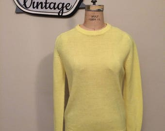 Vintage Yellow Light Weight Almost Sheer Long Sleeve Acrylic Sweater