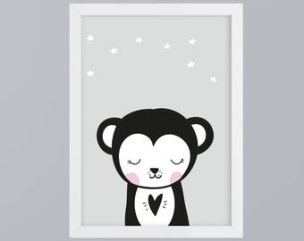 Monkey - art print unframed family gift family fine art print