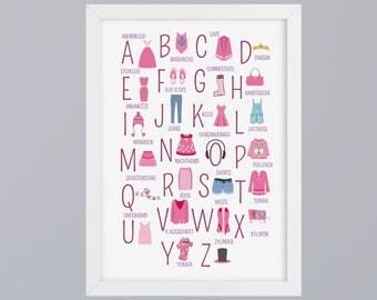 ABC clothing - alphabet art print without frame