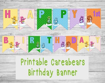 Carebears Party Printables - Carebears Birthday Banner - Carebears Party Tags - Carebears Labels - Carebears Birthday Party