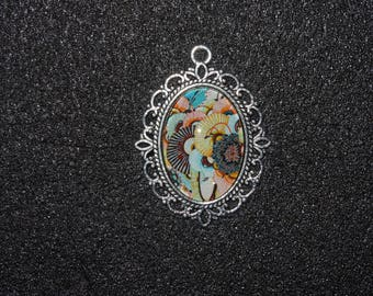 Your orange, Brown and yellow Floral Silver Pendant