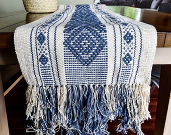 MTO, Handwoven, Cotton, Cream, Blue, Tan, Fringed, Mexican Table Runner, Boho Wedding, Vintage inspired, Geometric, Mexican, Boho, Tribal