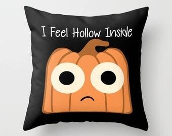 Pumpkin Pillow, Pillow Cover, Pillow Case, Halloween Pillow, Jack O Lantern, Funny Pillow, Black Pillow, Cute Pillow, LOL Pillow, Humor, Art