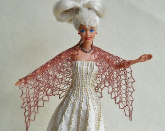 hand knit, hand dyed pink-purple lacy shawl for barbie doll