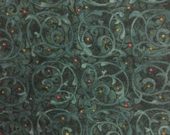 Tidings Vines and Berries on Teal 04036 by Nancy Halvorsen for Benartex Fabrics - 1/2 yd cut