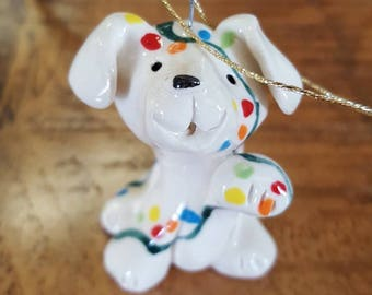 Little Guys Ceramic Chrismas Light Dog Ornament