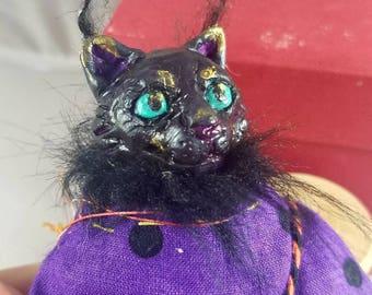 Witch cat art doll OOAK halloween black cat