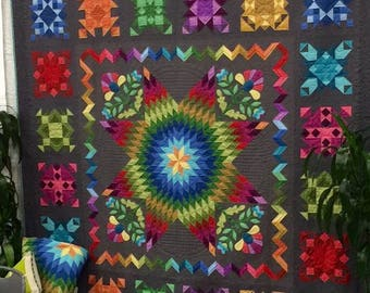 GETTING TO KNOW Hue Queen/King Quilt Kit, Fabric by Marcus Brothers, Nancy Rink Pattern, Block Of The Month or Kit, Charcoal Gray Background