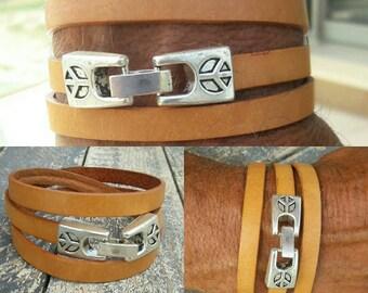 Men's Leather peace wrap cuff, Natural leather peace closure bracelet