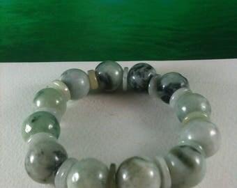 12 Lucky Jade Beads Bracelet Nature Jade Bracelet from Myanmar